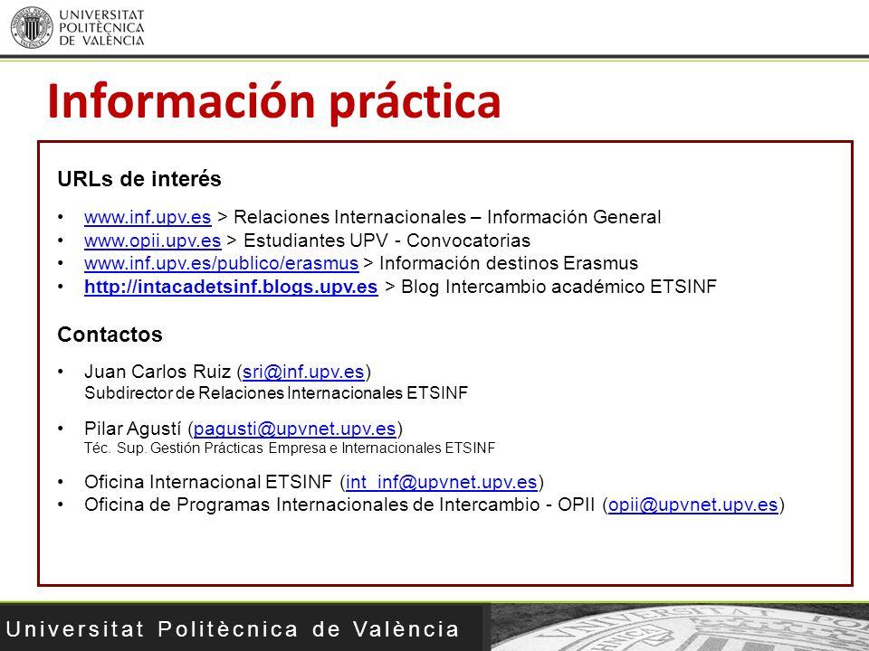 Información práctica URLs de interés Contactos