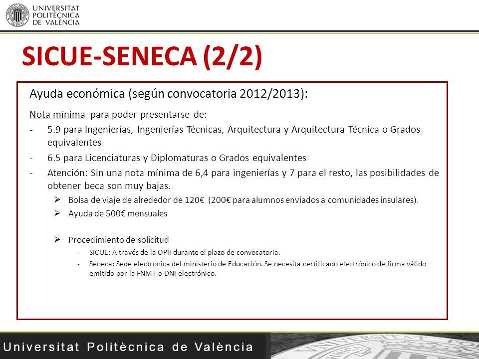 SICUE-SENECA (2/2) Ayuda económica (según convocatoria 2012/2013):