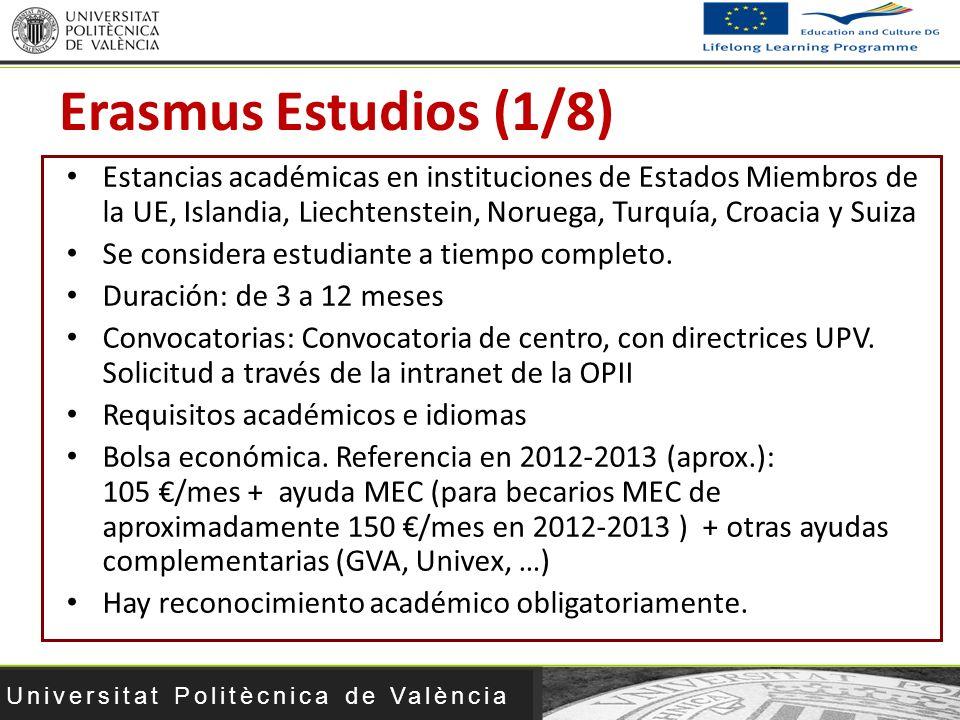Erasmus Estudios (1/8) Estancias académicas en instituciones de Estados Miembros de la UE, Islandia, Liechtenstein, Noruega, Turquía, Croacia y Suiza.