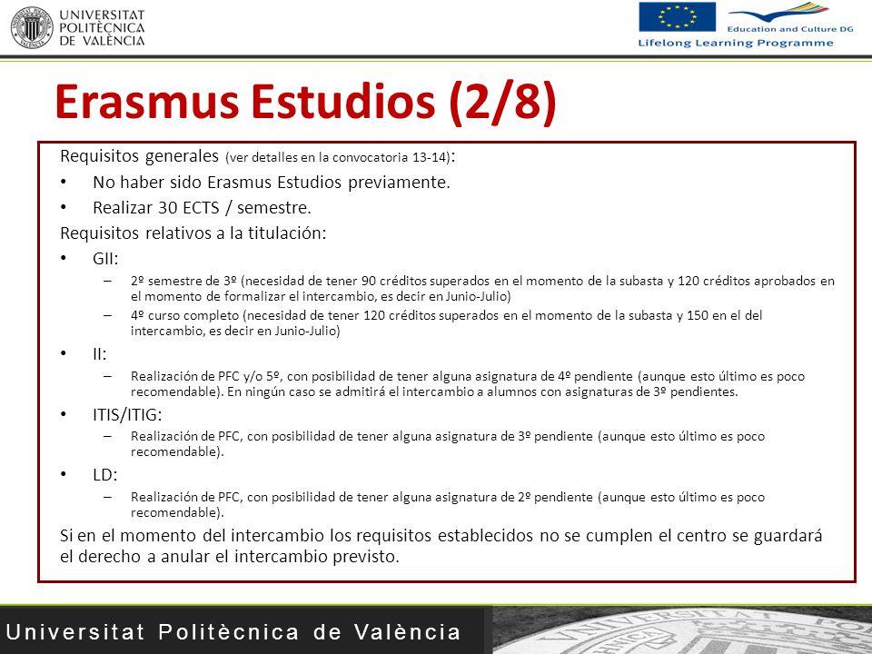 Erasmus Estudios (2/8) Requisitos generales (ver detalles en la convocatoria 13-14): No haber sido Erasmus Estudios previamente.