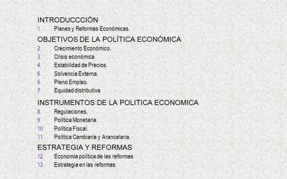 OBJETIVOS DE LA POLÍTICA ECONÓMICA