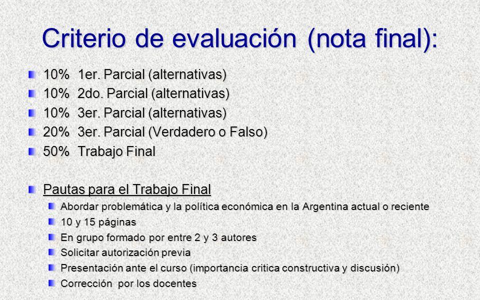 Criterio de evaluación (nota final):