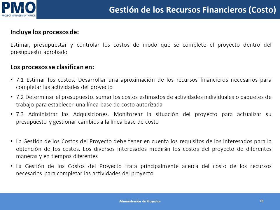 Gestión de los Recursos Financieros (Costo)