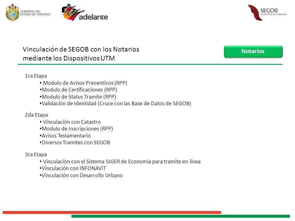Vinculación de SEGOB con los Notarios mediante los Dispositivos UTM