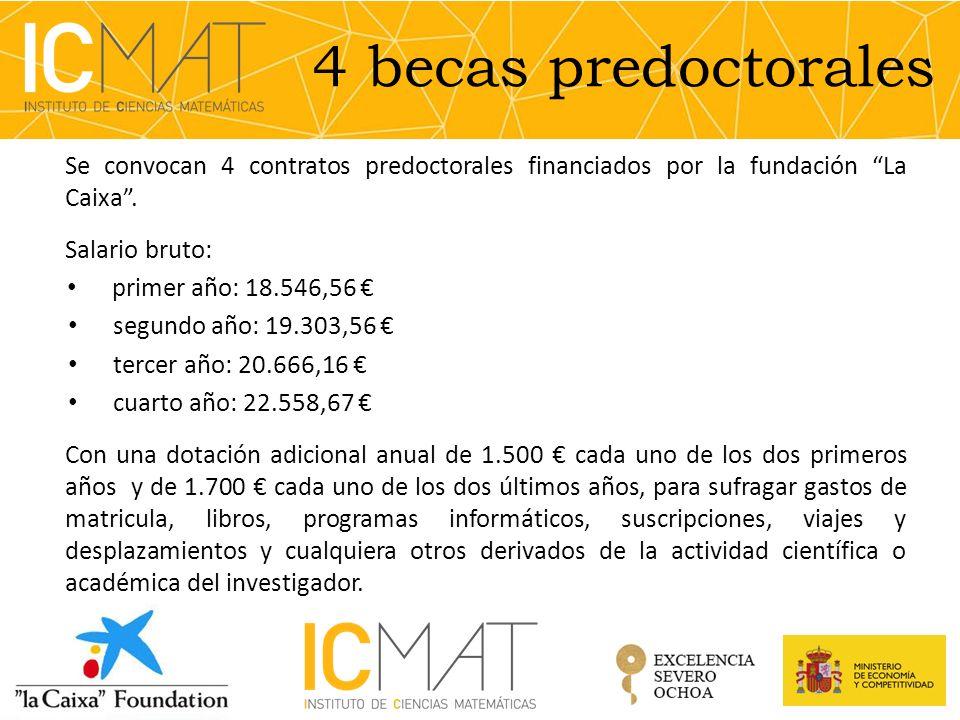 4 becas predoctorales Se convocan 4 contratos predoctorales financiados por la fundación La Caixa .