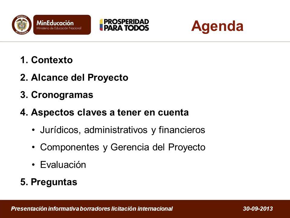 Agenda Contexto Alcance del Proyecto Cronogramas