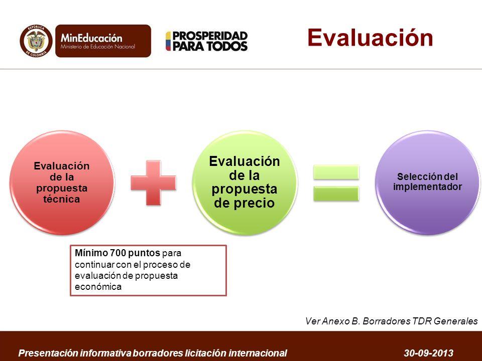 Evaluación Evaluación de la propuesta de precio