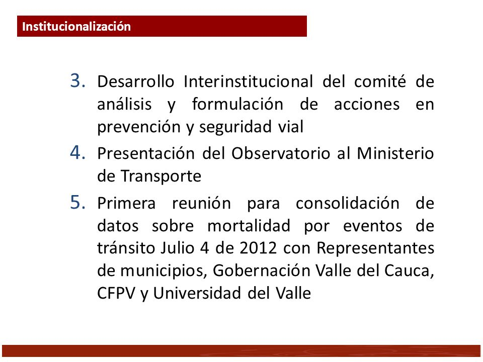 Presentación del Observatorio al Ministerio de Transporte