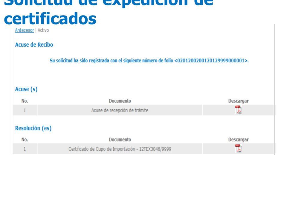 Solicitud de expedición de certificados