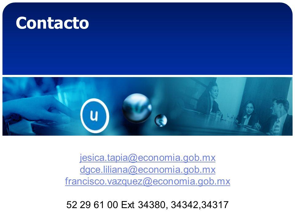 Contacto jesica.tapia@economia.gob.mx dgce.liliana@economia.gob.mx