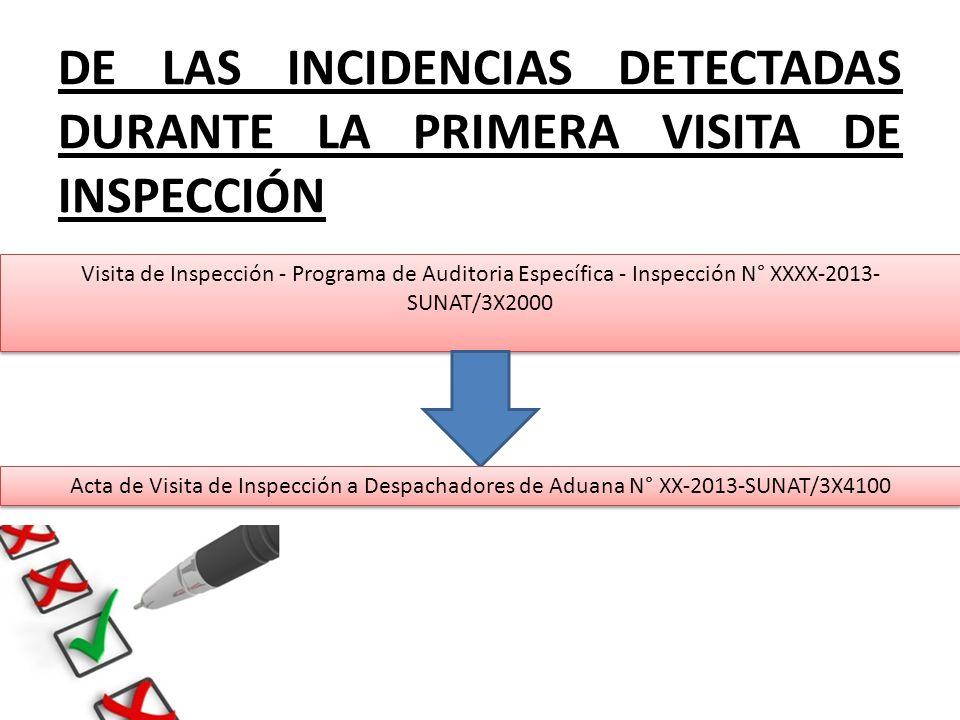 DE LAS INCIDENCIAS DETECTADAS DURANTE LA PRIMERA VISITA DE INSPECCIÓN