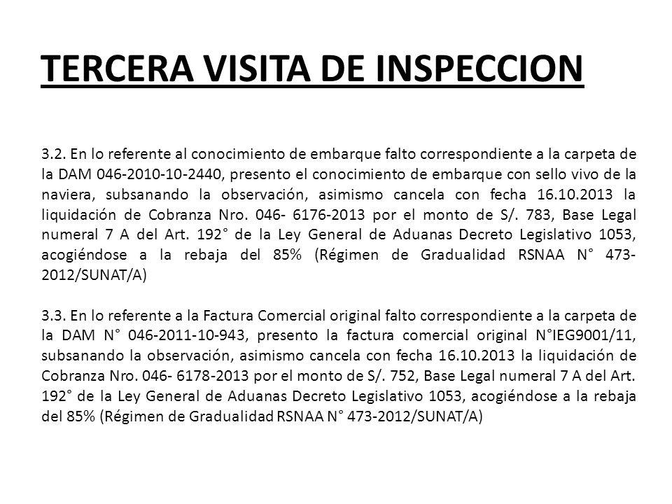 TERCERA VISITA DE INSPECCION