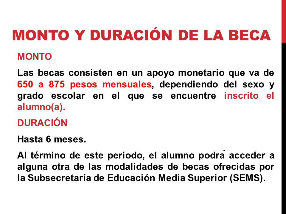MONTO Y DURACIÓN DE LA BECA