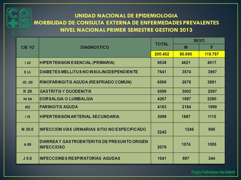 NIVEL NACIONAL PRIMER SEMESTRE GESTION 2013