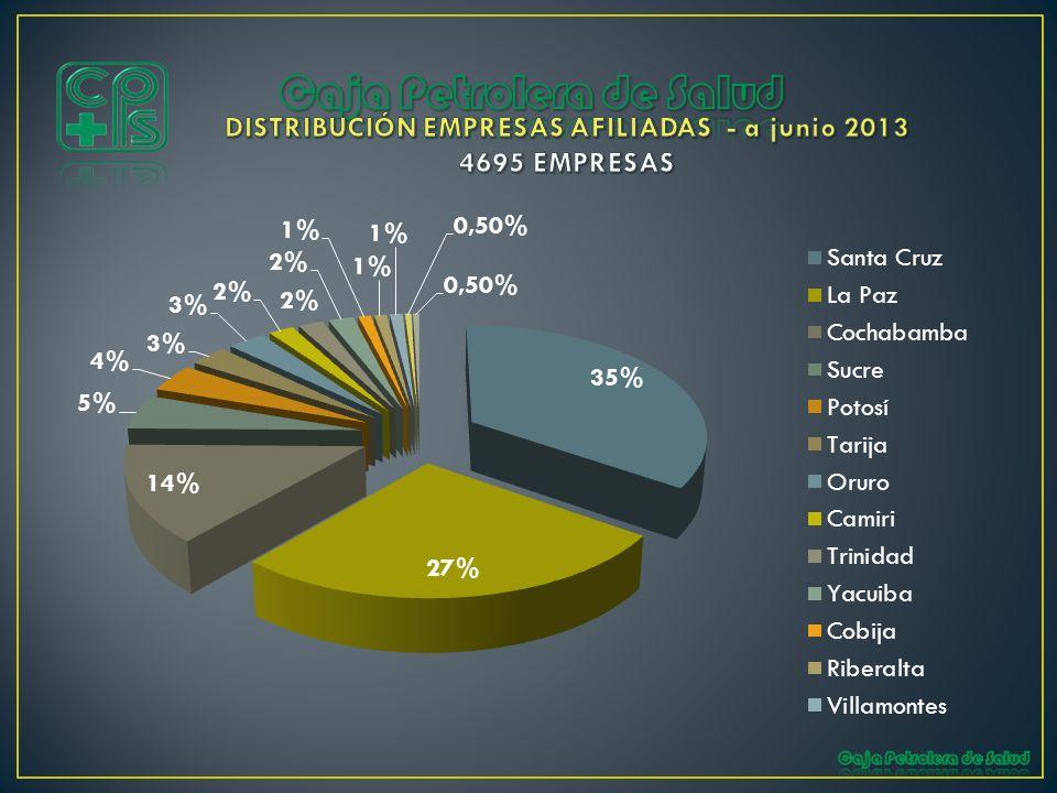 DISTRIBUCIÓN EMPRESAS AFILIADAS - a junio 2013 4695 EMPRESAS