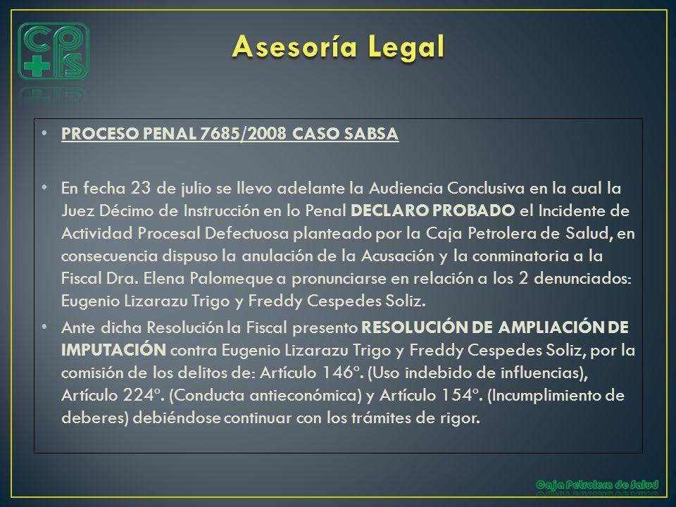 Asesoría Legal PROCESO PENAL 7685/2008 CASO SABSA