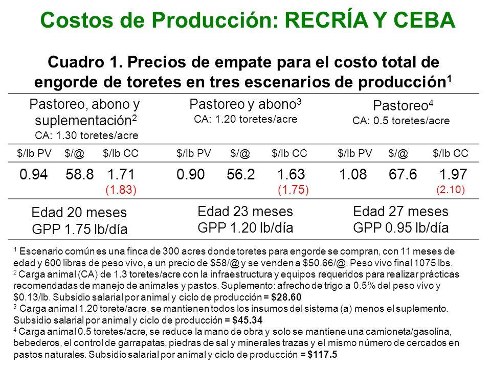 Costos de Producción: RECRÍA Y CEBA