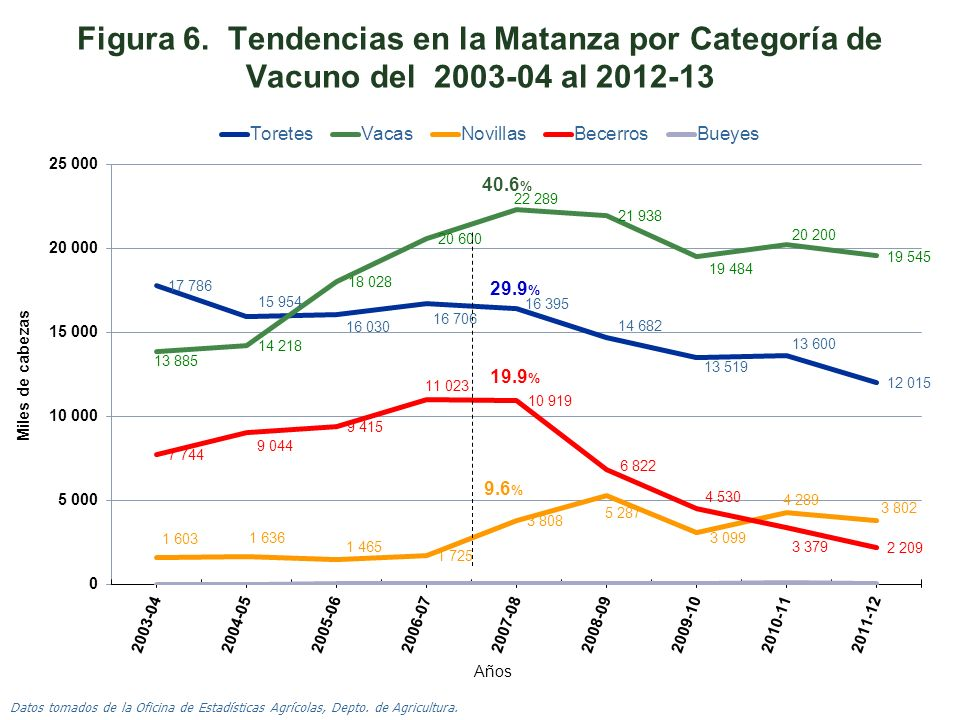 Figura 6. Tendencias en la Matanza por Categoría de Vacuno del 2003-04 al 2012-13