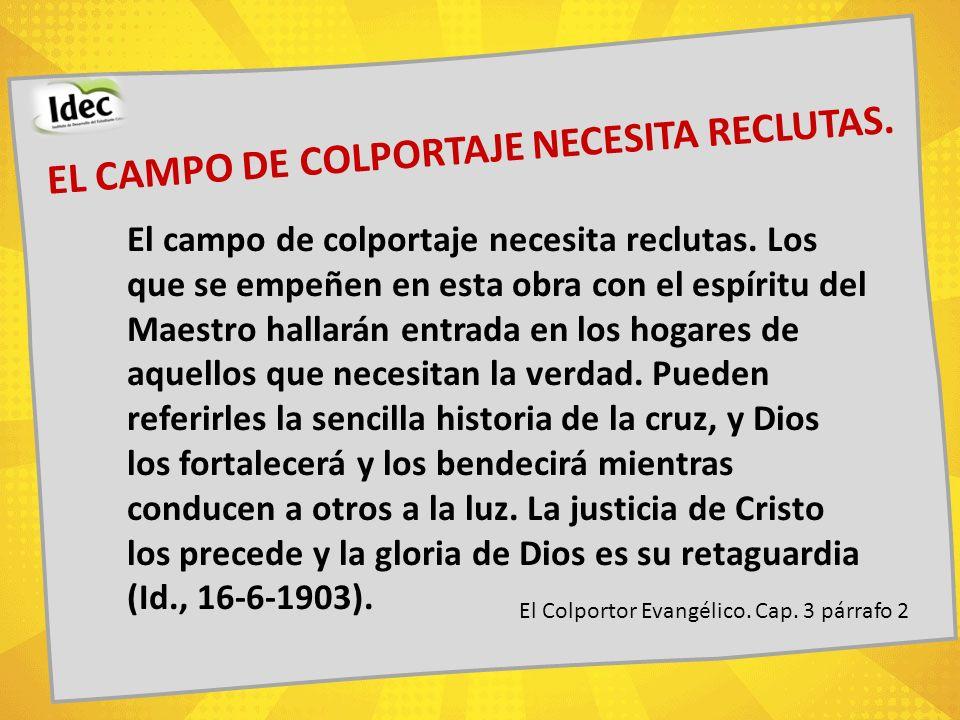 EL CAMPO DE COLPORTAJE NECESITA RECLUTAS.