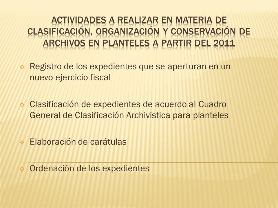 actividades a realizar en materia de CLASIFICACIÓN, Organización y conservación de archivos EN PLANTELES A PARTIR DEL 2011