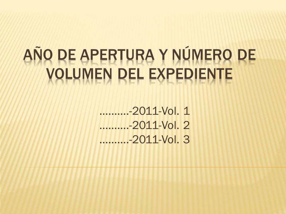 Año de apertura y número de volumen del EXPEDIENTE