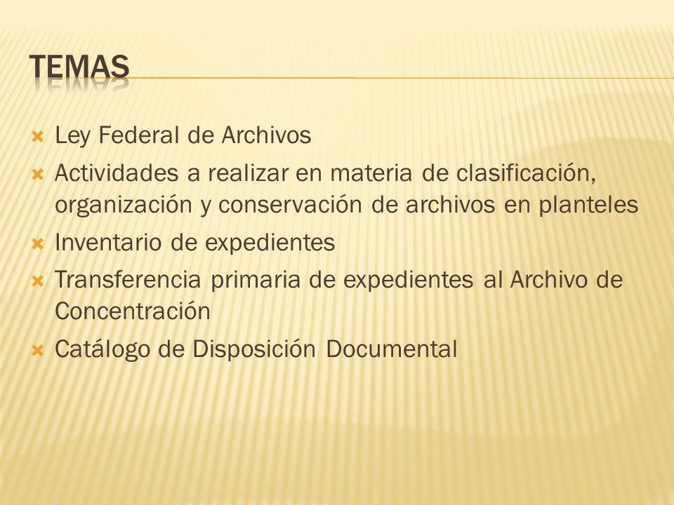 TEMAS Ley Federal de Archivos