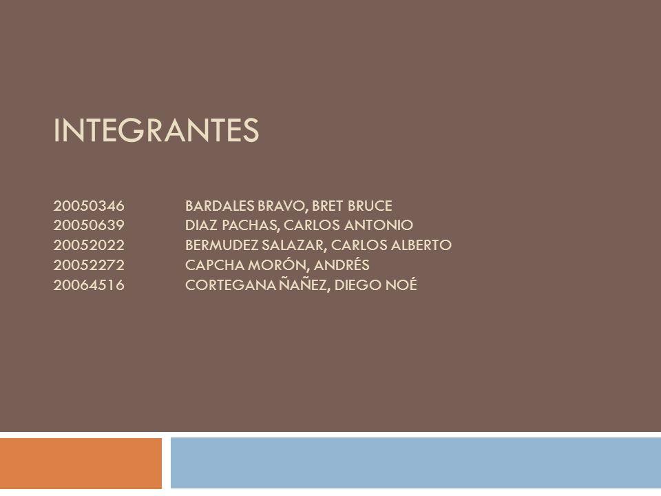 Integrantes 20050346. BARDALES BRAVO, BRET BRUCE 20050639