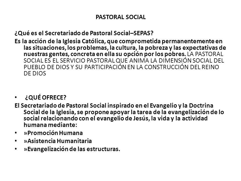 PASTORAL SOCIAL ¿Qué es el Secretariado de Pastoral Social–SEPAS