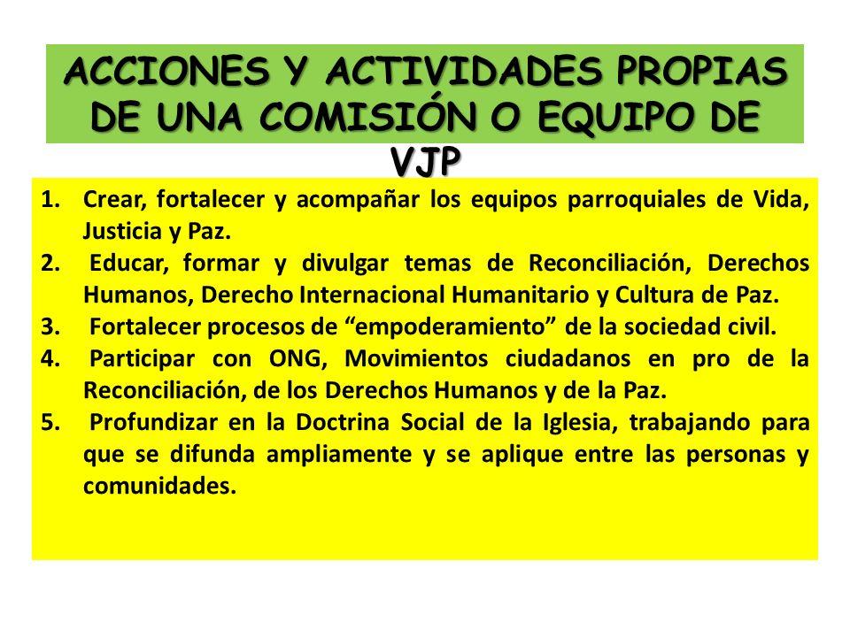 ACCIONES Y ACTIVIDADES PROPIAS DE UNA COMISIÓN O EQUIPO DE VJP