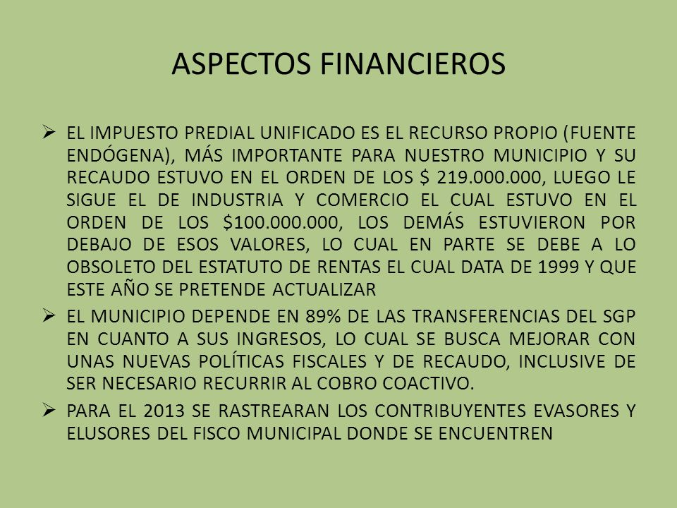 ASPECTOS FINANCIEROS