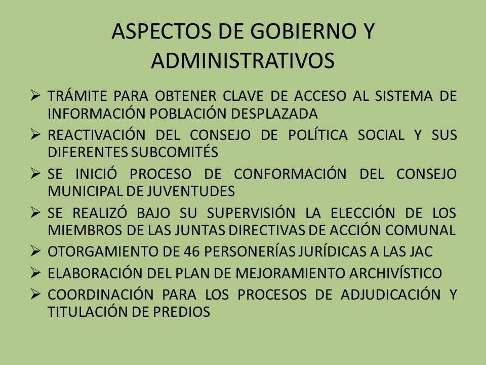 ASPECTOS DE GOBIERNO Y ADMINISTRATIVOS
