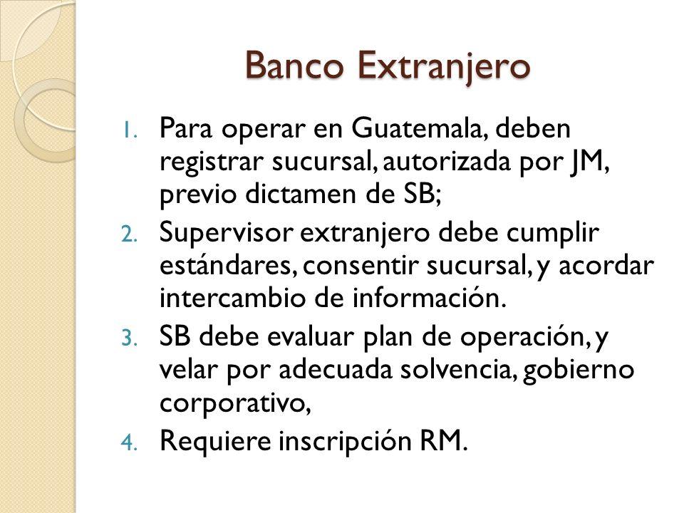 Banco Extranjero Para operar en Guatemala, deben registrar sucursal, autorizada por JM, previo dictamen de SB;