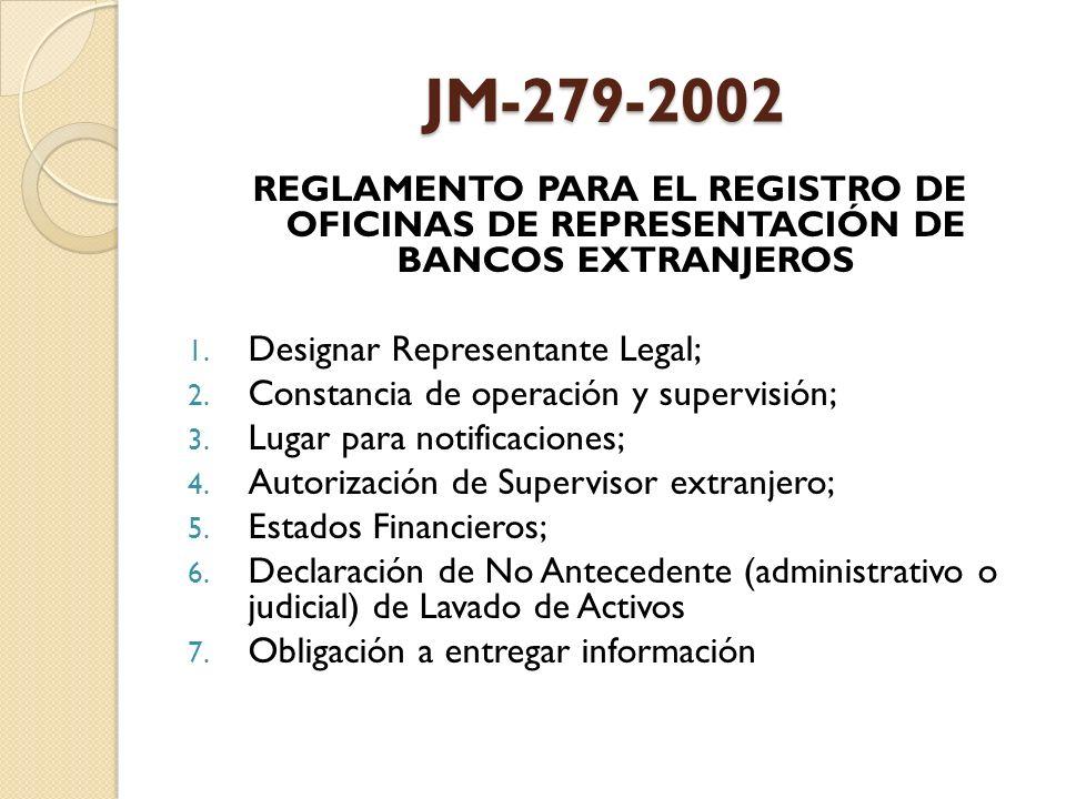 JM-279-2002 REGLAMENTO PARA EL REGISTRO DE OFICINAS DE REPRESENTACIÓN DE BANCOS EXTRANJEROS. Designar Representante Legal;