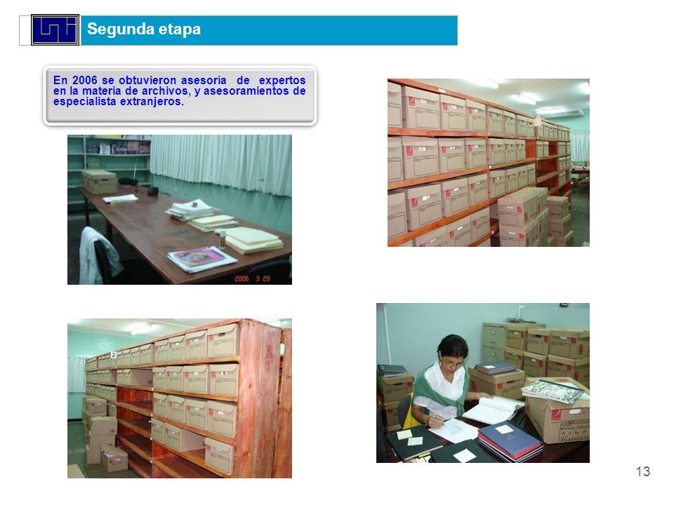 Segunda etapa En 2006 se obtuvieron asesoría de expertos en la materia de archivos, y asesoramientos de especialista extranjeros.