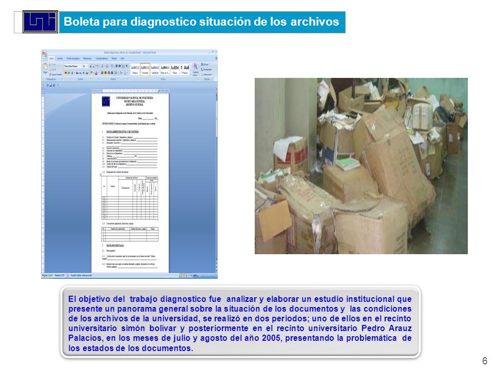 Boleta para diagnostico situación de los archivos