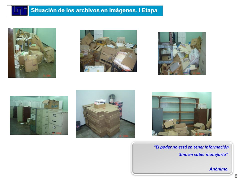 Situación de los archivos en imágenes. I Etapa
