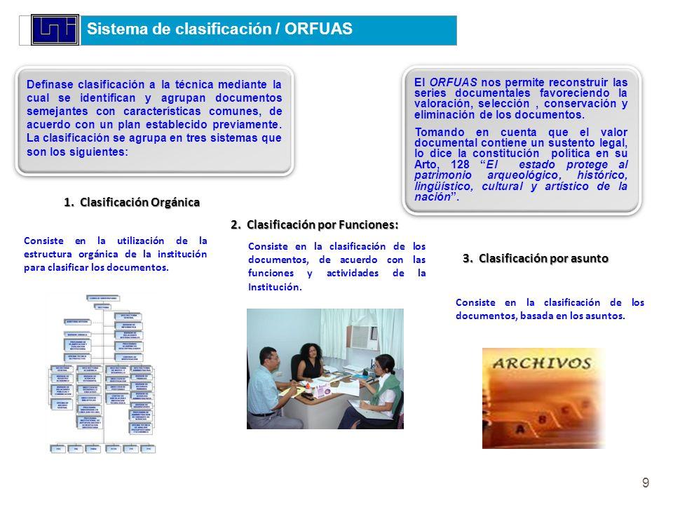 Sistema de clasificación / ORFUAS