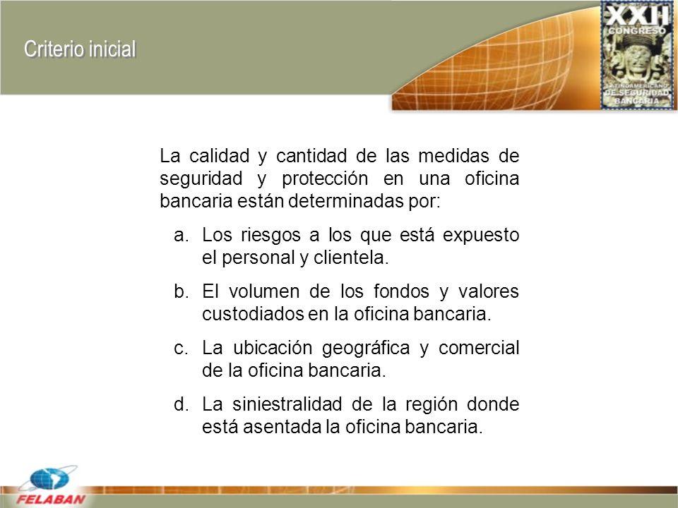 Criterio inicial La calidad y cantidad de las medidas de seguridad y protección en una oficina bancaria están determinadas por: