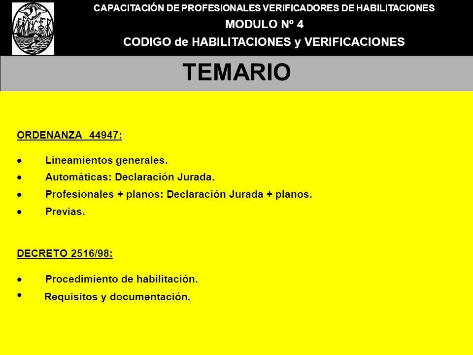 TEMARIO Requisitos y documentación. MODULO Nº 4