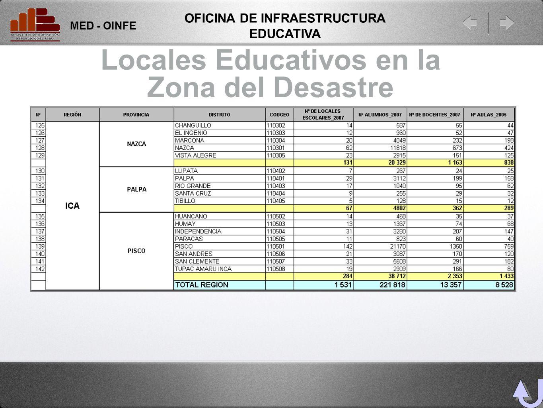 Locales Educativos en la Zona del Desastre