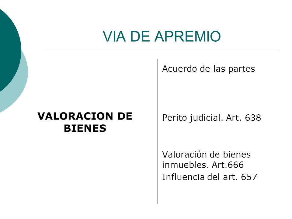VALORACION DE BIENES VIA DE APREMIO Acuerdo de las partes