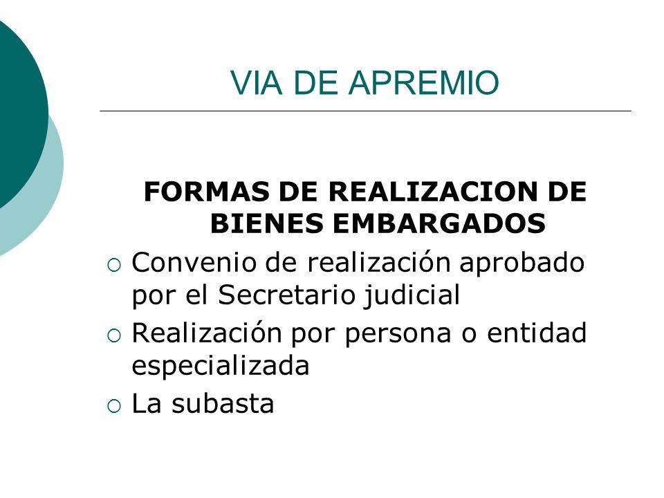 FORMAS DE REALIZACION DE BIENES EMBARGADOS