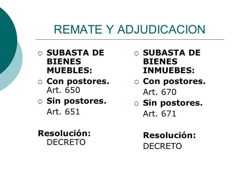 REMATE Y ADJUDICACION SUBASTA DE BIENES MUEBLES: