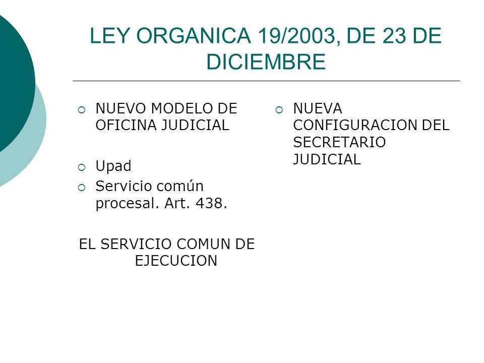 LEY ORGANICA 19/2003, DE 23 DE DICIEMBRE