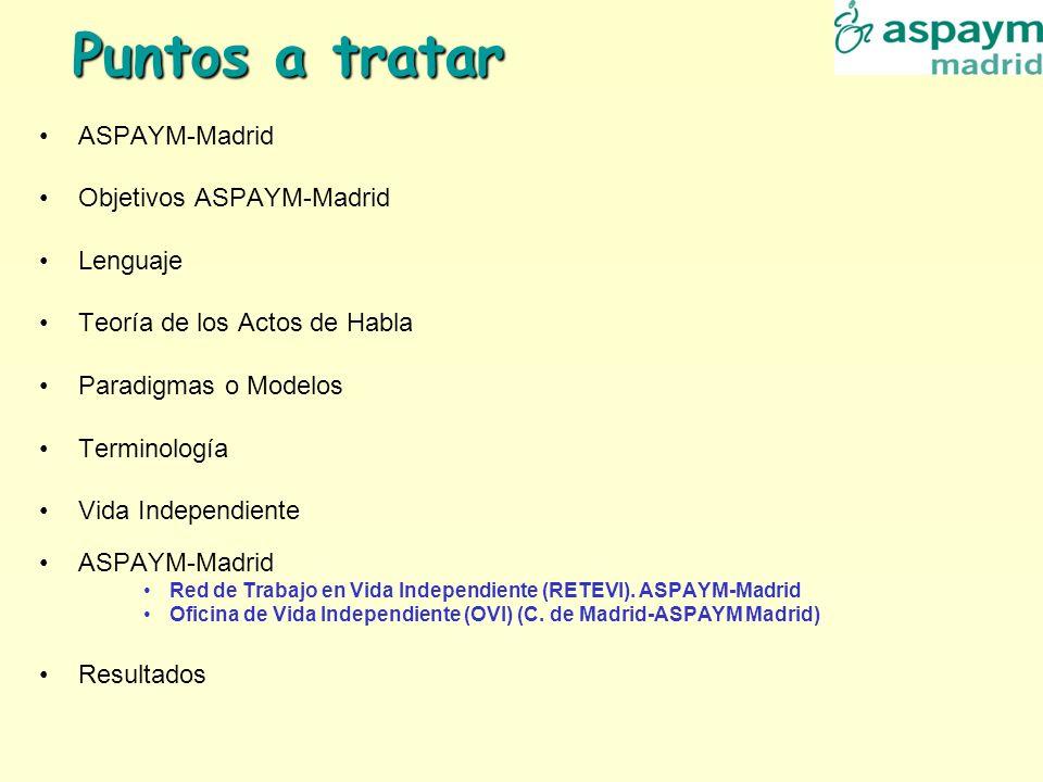 Puntos a tratar ASPAYM-Madrid Objetivos ASPAYM-Madrid Lenguaje