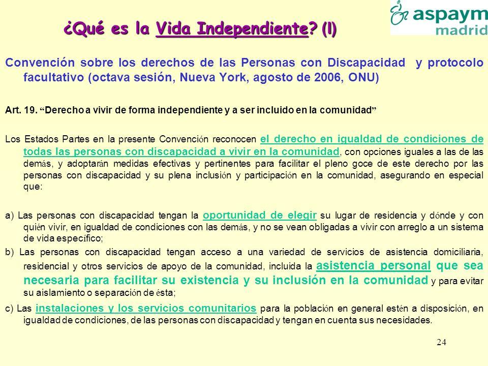 ¿Qué es la Vida Independiente (I)
