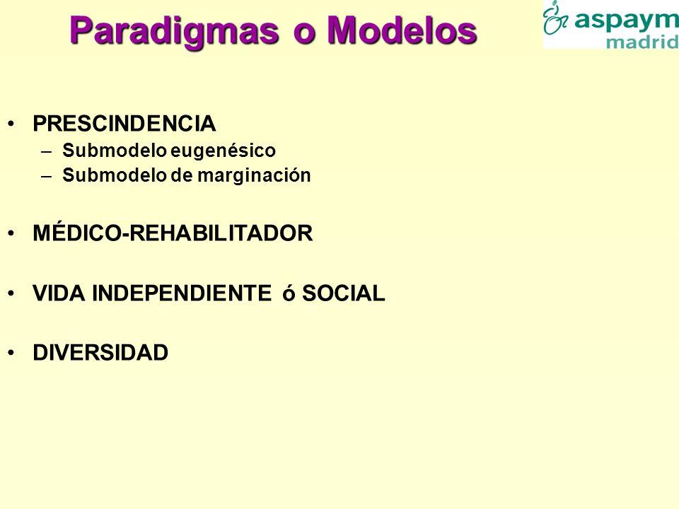 Paradigmas o Modelos PRESCINDENCIA MÉDICO-REHABILITADOR