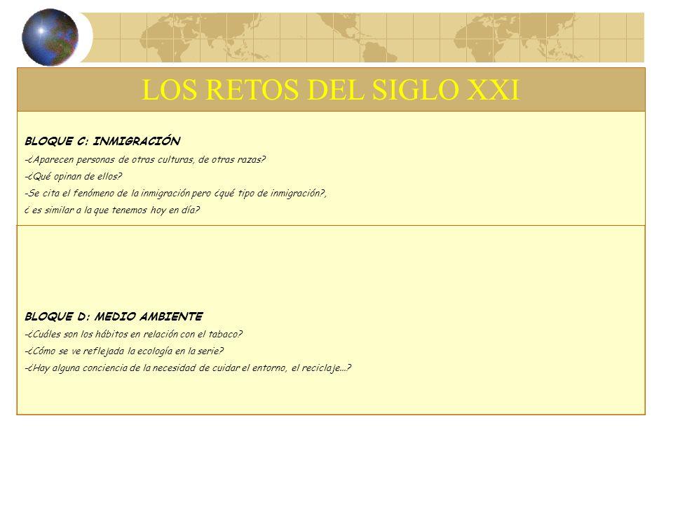 LOS RETOS DEL SIGLO XXI BLOQUE C: INMIGRACIÓN BLOQUE D: MEDIO AMBIENTE