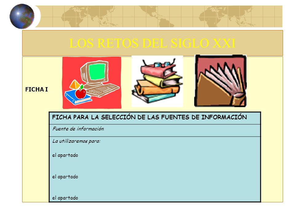 LOS RETOS DEL SIGLO XXIFICHA I. FICHA PARA LA SELECCIÓN DE LAS FUENTES DE INFORMACIÓN. Fuente de información: