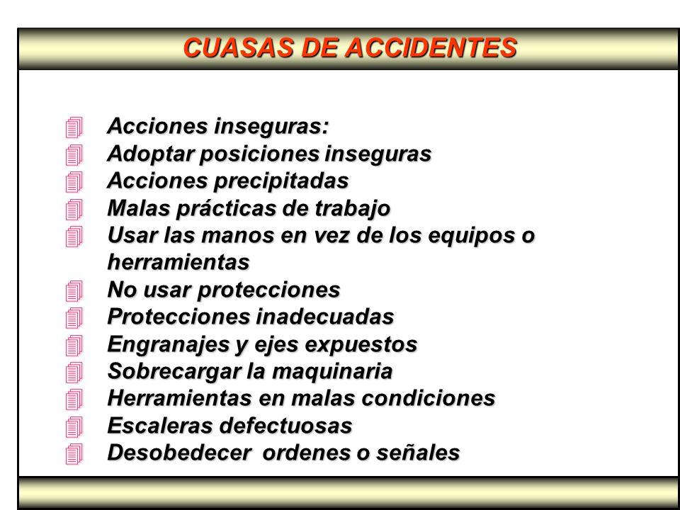 CUASAS DE ACCIDENTES Acciones inseguras: Adoptar posiciones inseguras